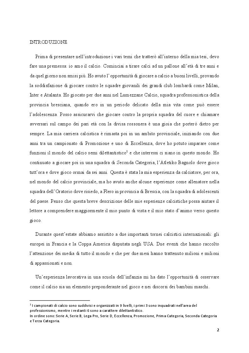 Anteprima della tesi: Media e Sport: l'immagine educativa del mondo del Calcio, Pagina 2