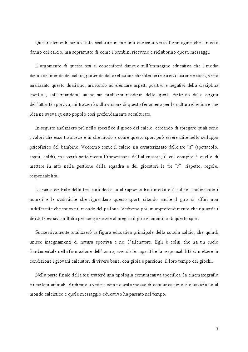 Anteprima della tesi: Media e Sport: l'immagine educativa del mondo del Calcio, Pagina 3