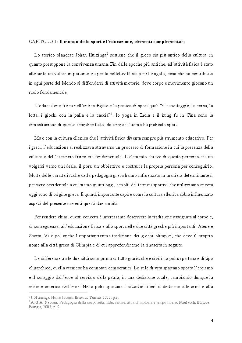 Anteprima della tesi: Media e Sport: l'immagine educativa del mondo del Calcio, Pagina 4