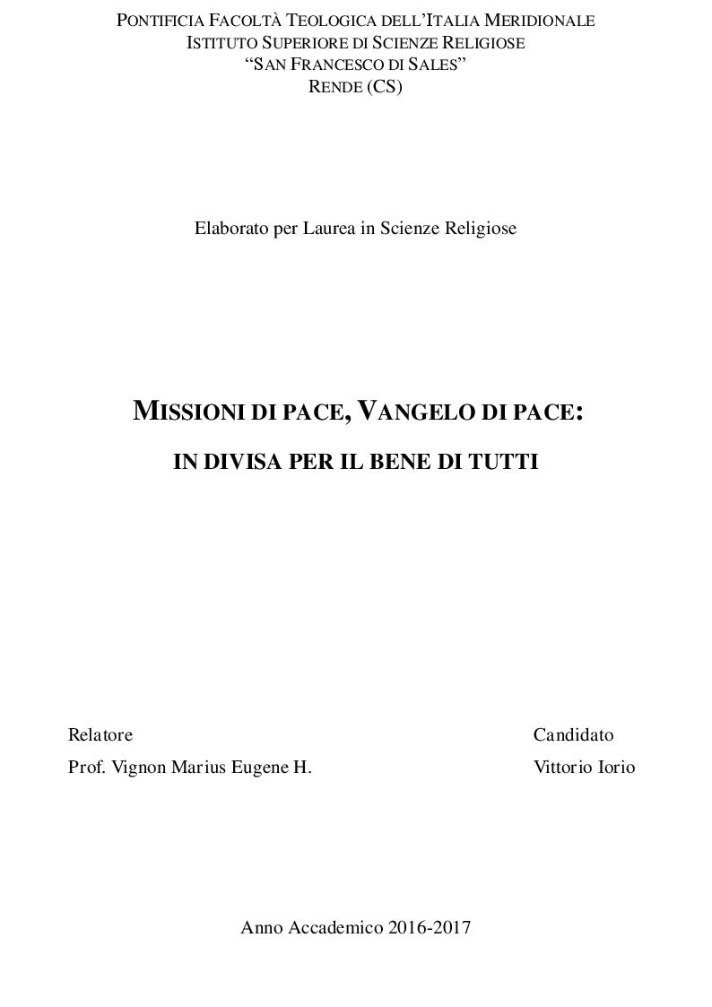 Anteprima della tesi: Missione di Pace, Vangelo di Pace: In divisa per il bene di tutti, Pagina 1