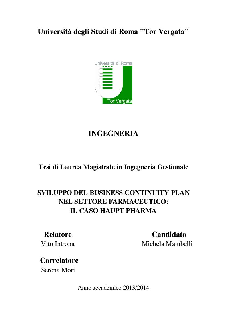 Anteprima della tesi: Sviluppo del Business Continuity Plan nel settore farmaceutico: il caso Haupt Pharma, Pagina 1