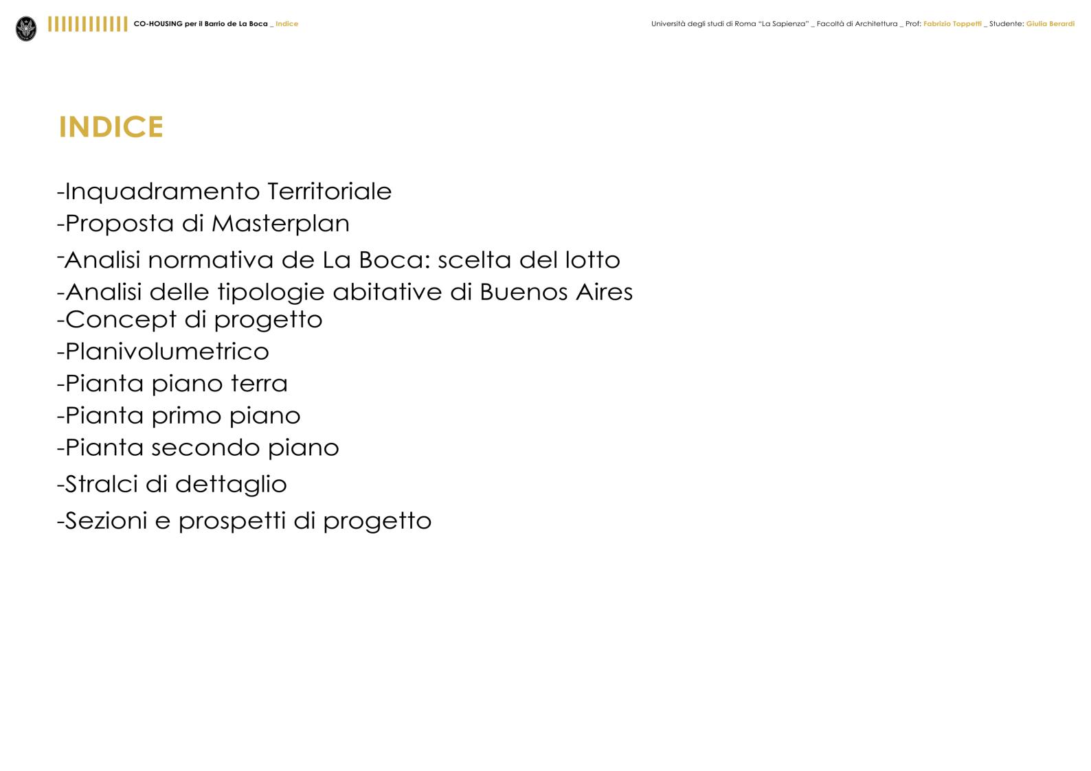 Indice della tesi: Cohousing per il barrio de La Boca - Buenos Aires, Pagina 1