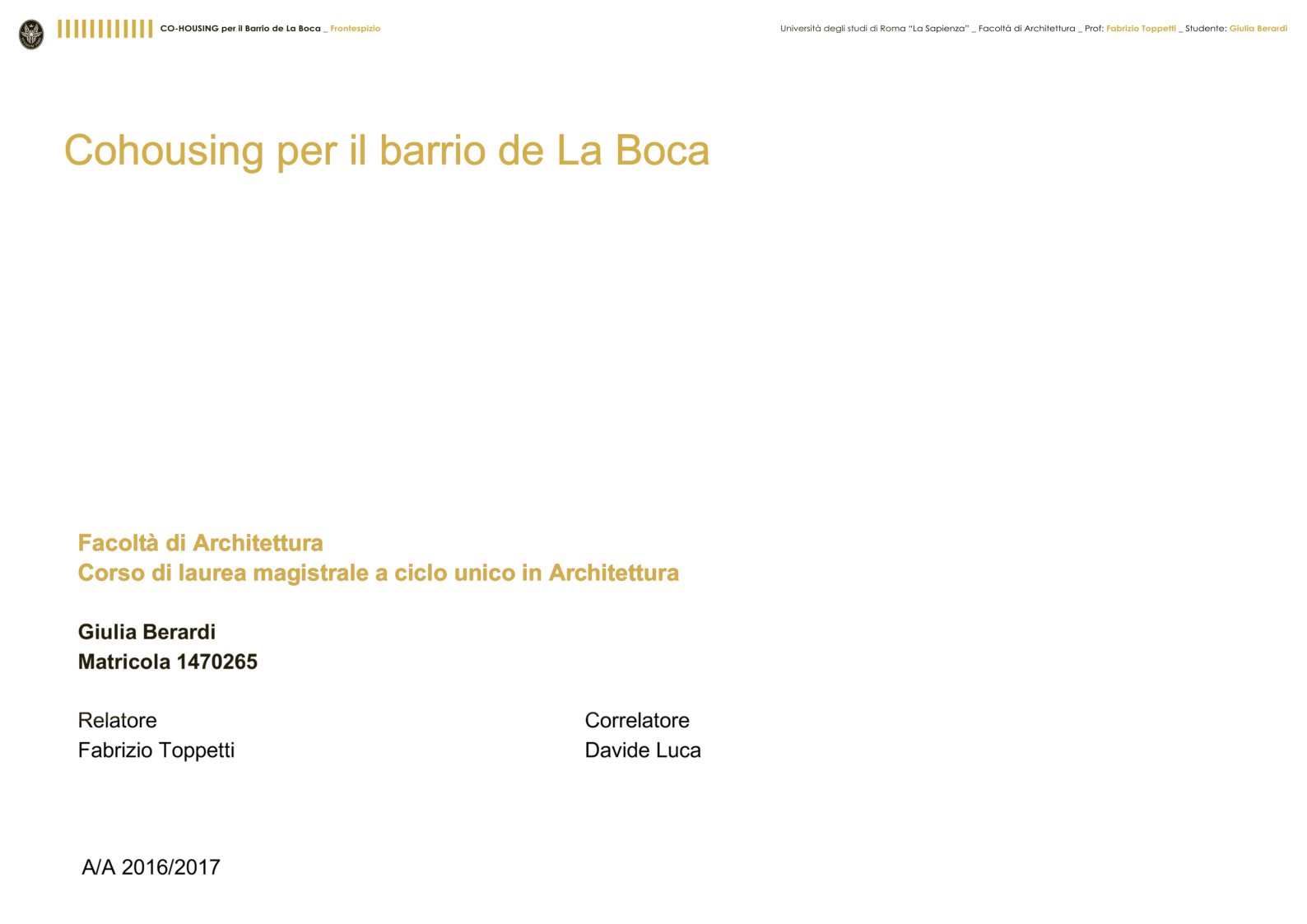 Anteprima della tesi: Cohousing per il barrio de La Boca - Buenos Aires, Pagina 1
