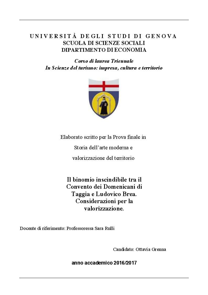 Anteprima della tesi: Il binomio inscindibile tra il Convento dei Domenicani di Taggia e Ludovico Brea. Considerazioni per la valorizzazione., Pagina 1