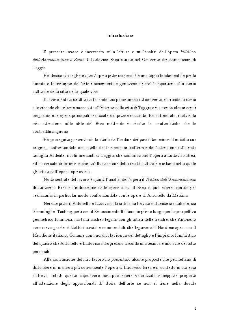 Anteprima della tesi: Il binomio inscindibile tra il Convento dei Domenicani di Taggia e Ludovico Brea. Considerazioni per la valorizzazione., Pagina 2