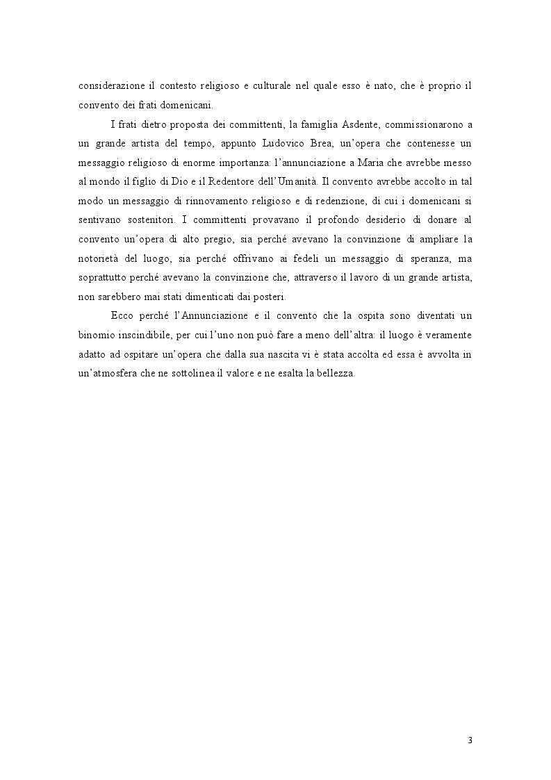 Anteprima della tesi: Il binomio inscindibile tra il Convento dei Domenicani di Taggia e Ludovico Brea. Considerazioni per la valorizzazione., Pagina 3