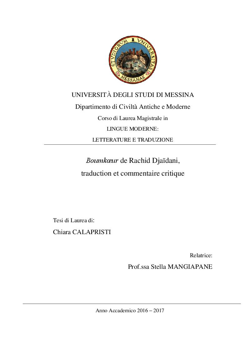 Anteprima della tesi: Boumkoeur de Rachid Djaïdani, traduction et commentaire critique, Pagina 1