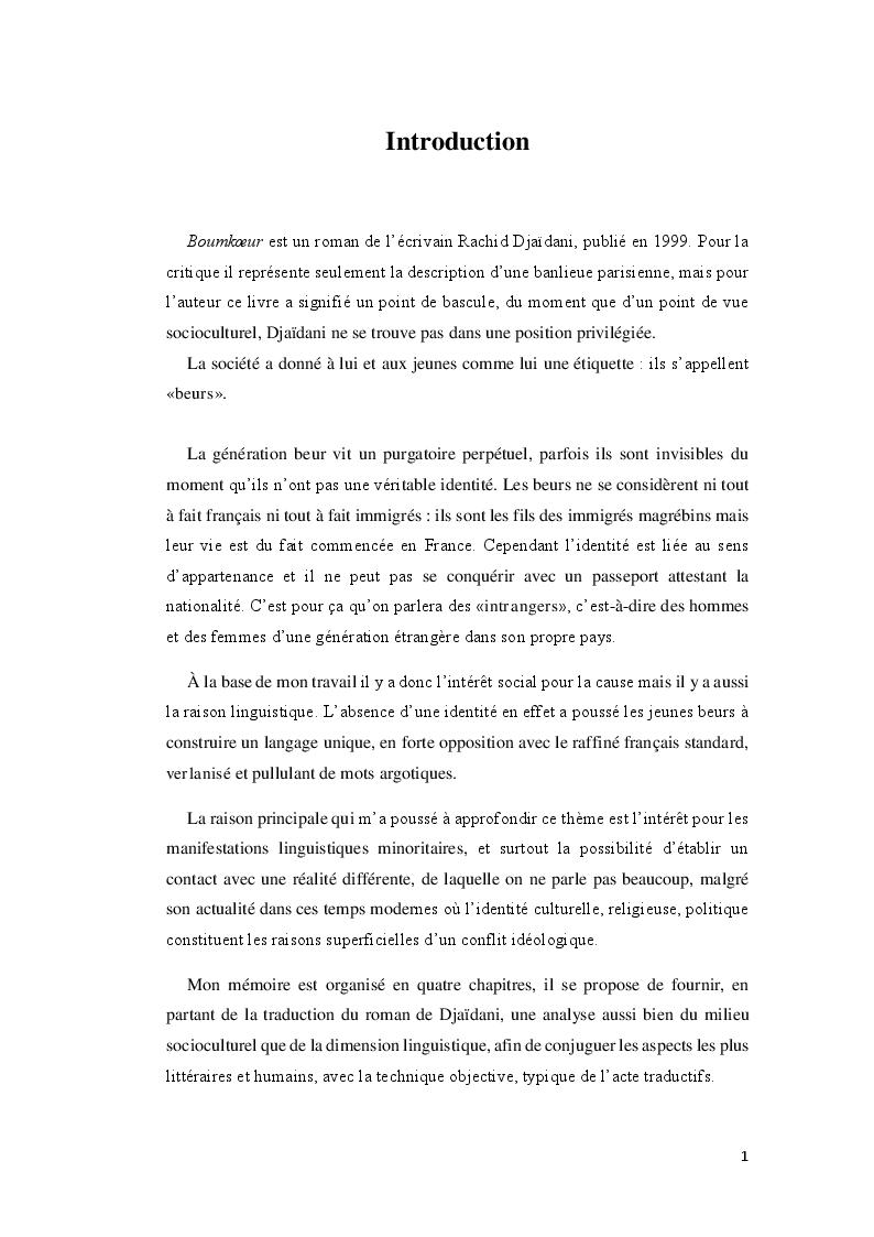 Anteprima della tesi: Boumkoeur de Rachid Djaïdani, traduction et commentaire critique, Pagina 2