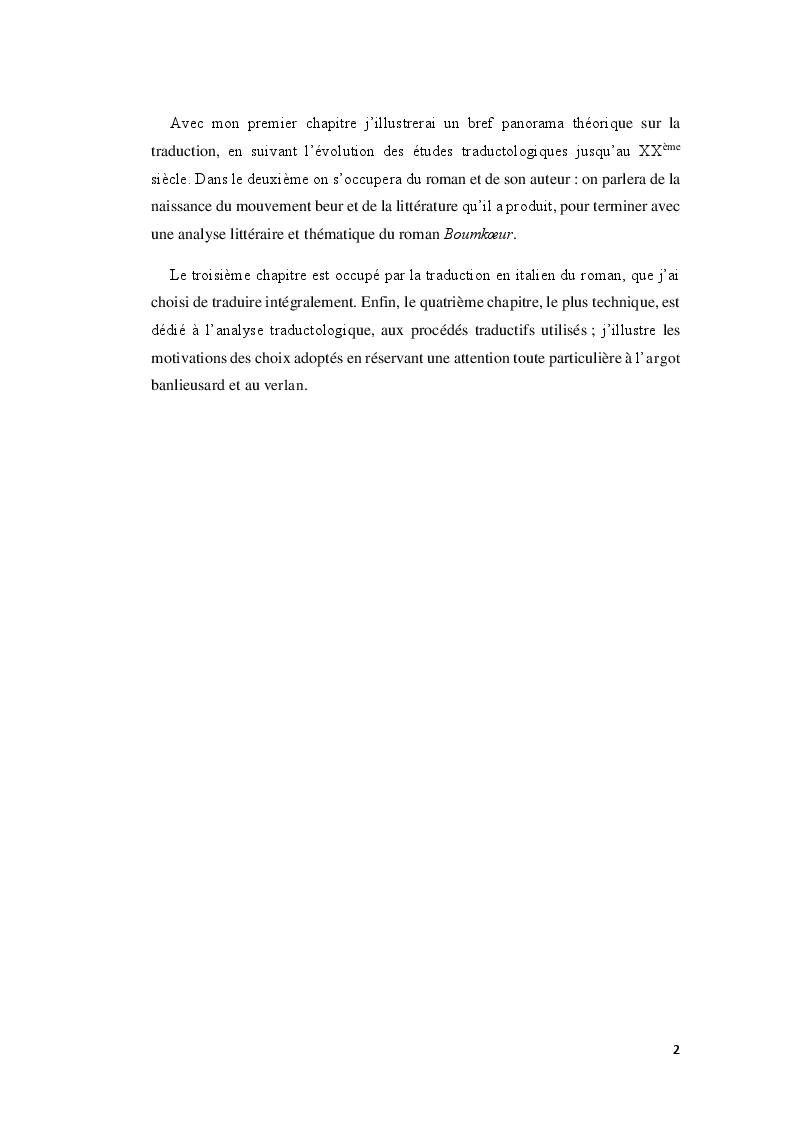 Anteprima della tesi: Boumkoeur de Rachid Djaïdani, traduction et commentaire critique, Pagina 3