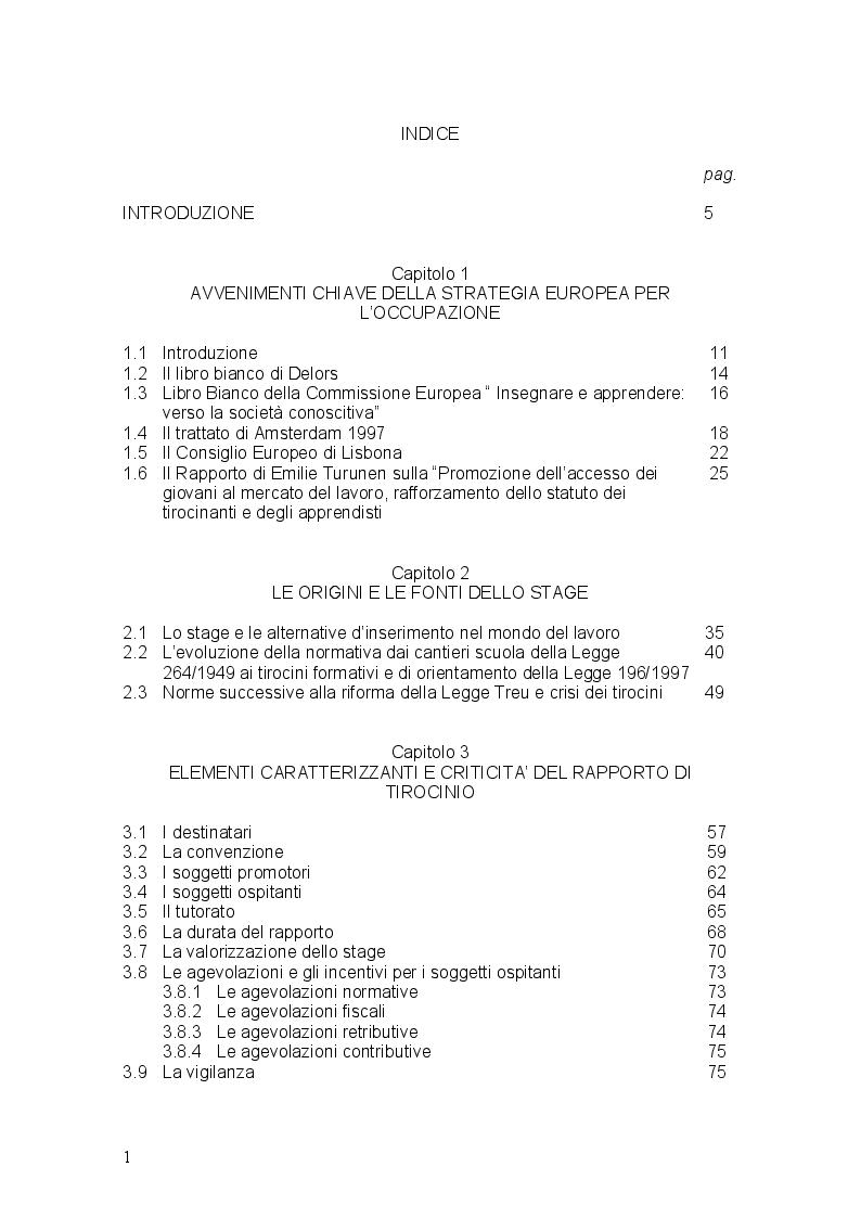 Indice della tesi: Stages ultima frontiera del precariato, Pagina 1