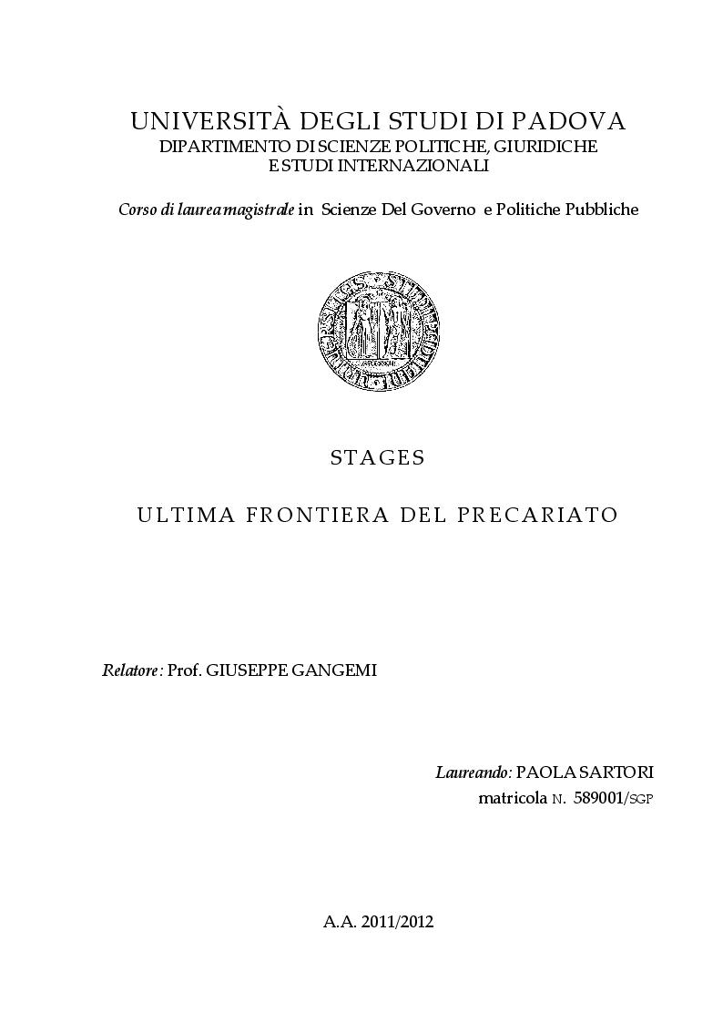 Anteprima della tesi: Stages ultima frontiera del precariato, Pagina 1