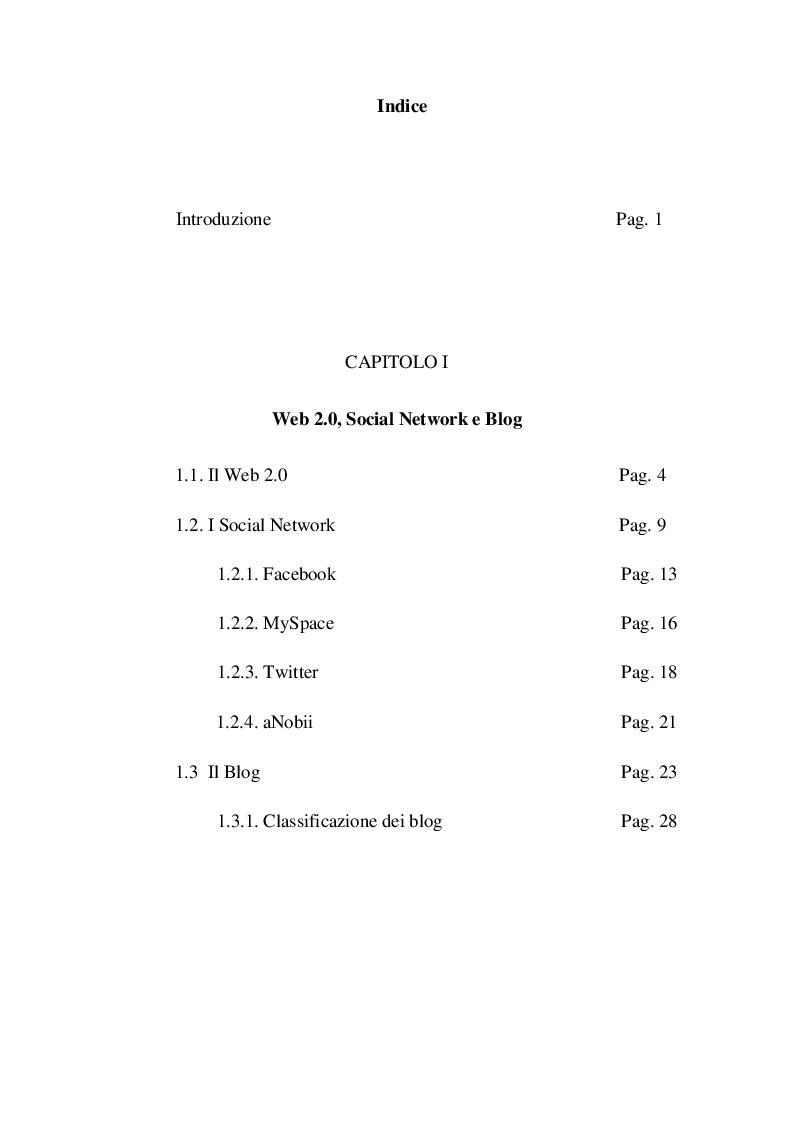 Indice della tesi: Il social networking nel lifelong learning, Pagina 1