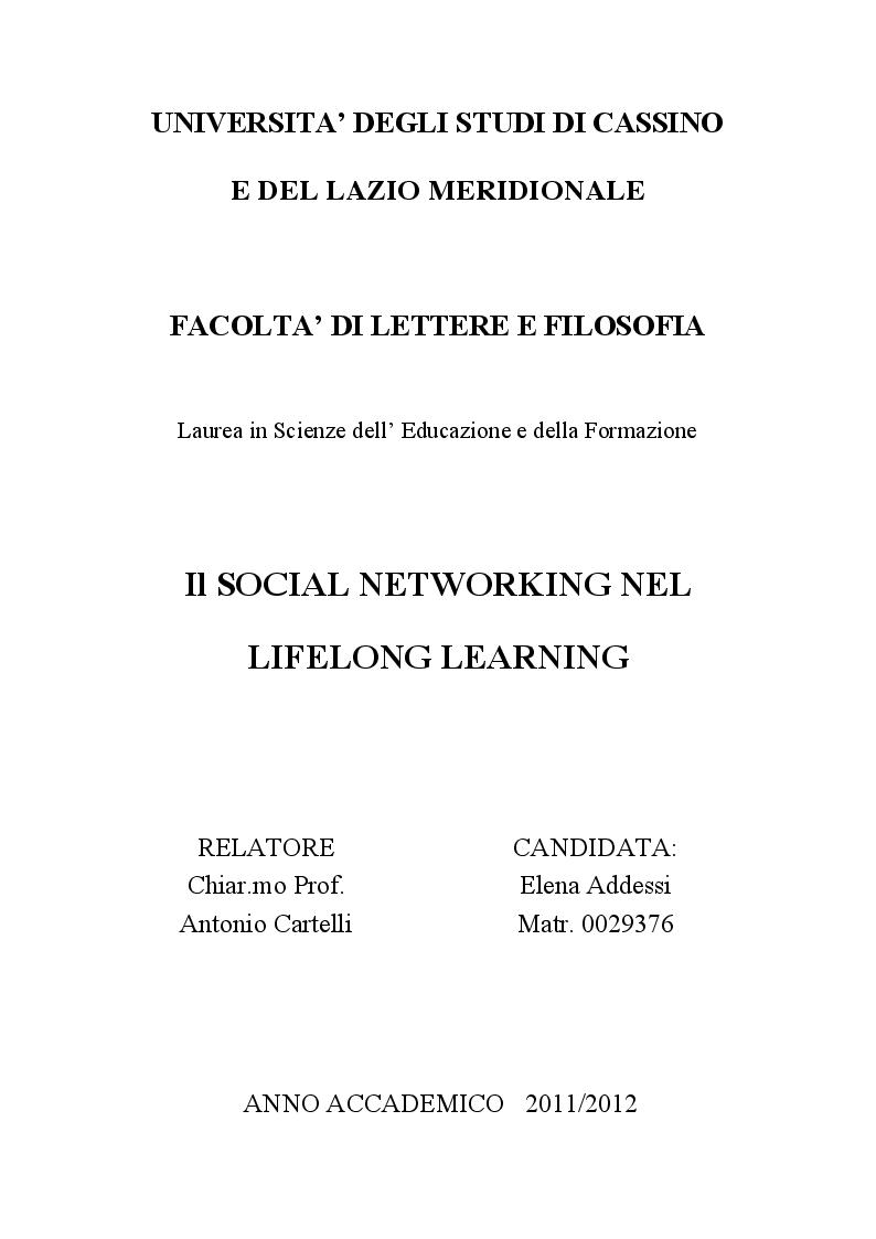 Anteprima della tesi: Il social networking nel lifelong learning, Pagina 1