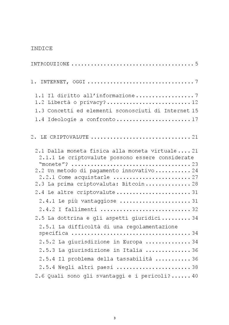 Indice della tesi: L'altra faccia della rete: le Criptovalute e il Deep Web, Pagina 1