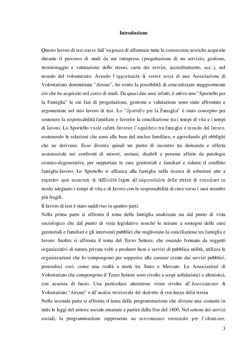Anteprima della tesi: Dalla teoria alla prassi: progettazione, gestione e valutazione  dello sportello per la famiglia, Pagina 2