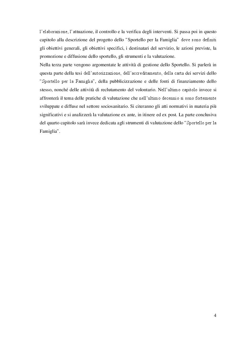 Anteprima della tesi: Dalla teoria alla prassi: progettazione, gestione e valutazione  dello sportello per la famiglia, Pagina 3