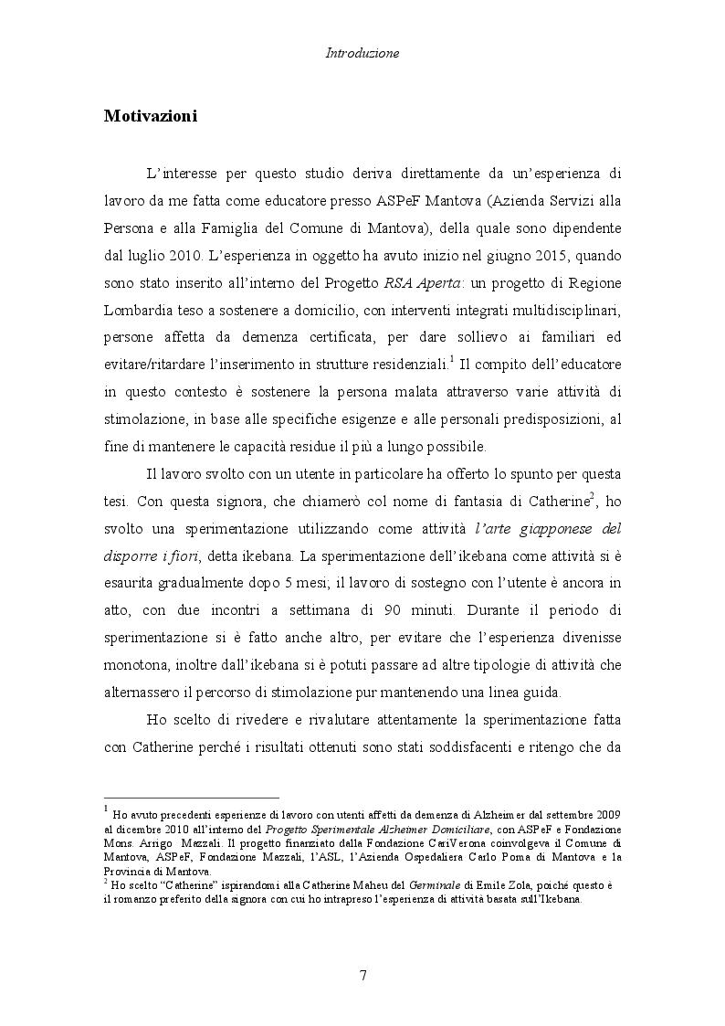 Anteprima della tesi: Malattia di Alzheimer e Ikebana. Studio sull'impiego dell'arte giapponese del disporre i fiori nell'attività di sostegno educativo alla persona malata., Pagina 2
