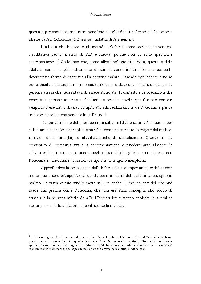 Anteprima della tesi: Malattia di Alzheimer e Ikebana. Studio sull'impiego dell'arte giapponese del disporre i fiori nell'attività di sostegno educativo alla persona malata., Pagina 3