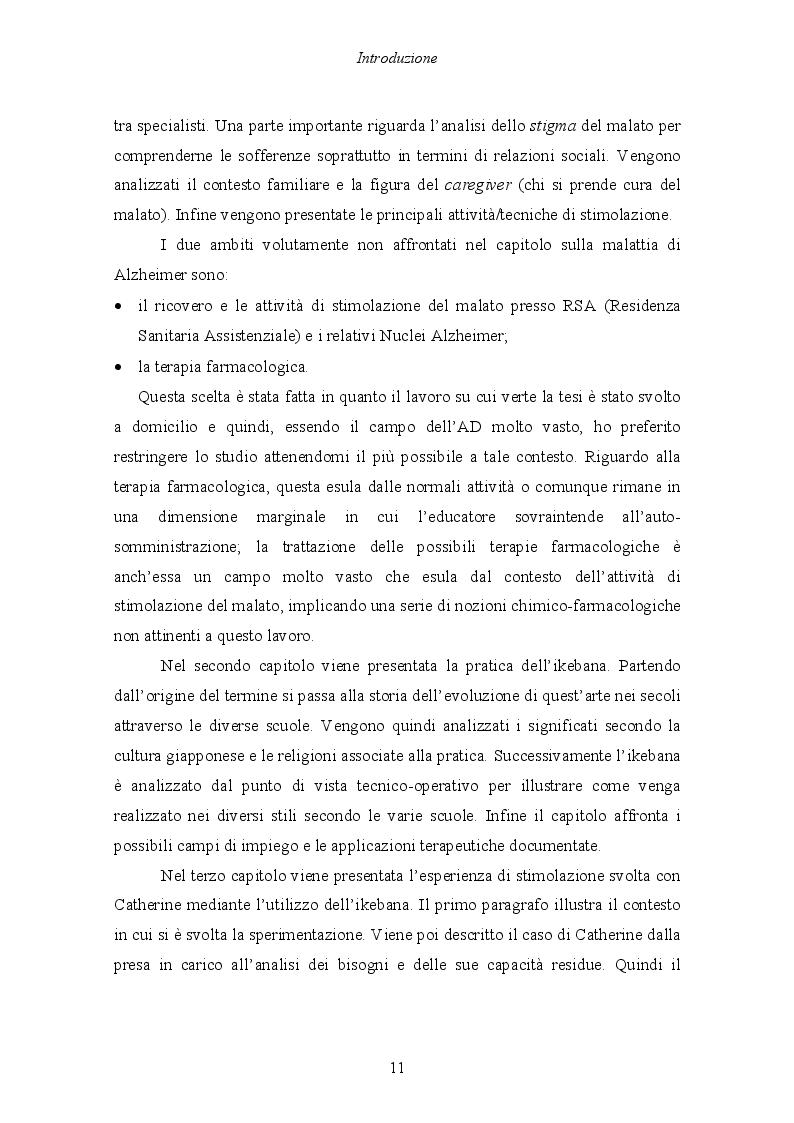 Anteprima della tesi: Malattia di Alzheimer e Ikebana. Studio sull'impiego dell'arte giapponese del disporre i fiori nell'attività di sostegno educativo alla persona malata., Pagina 6