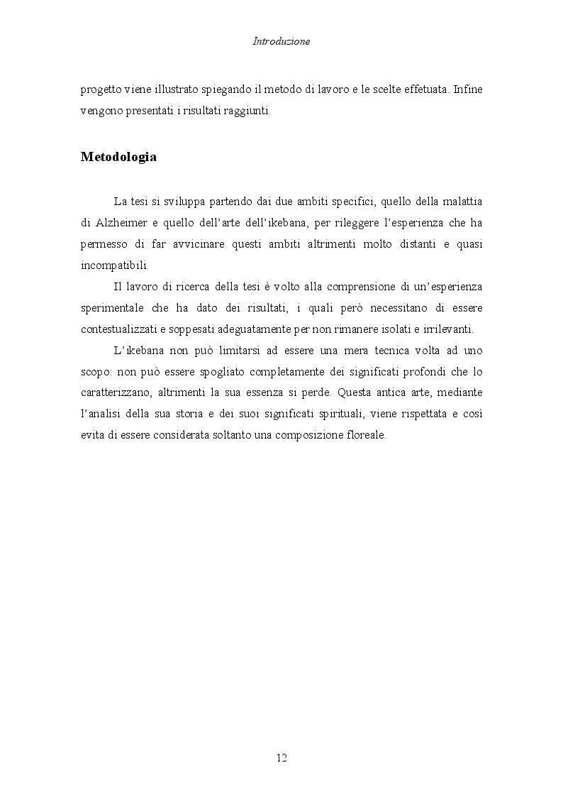 Anteprima della tesi: Malattia di Alzheimer e Ikebana. Studio sull'impiego dell'arte giapponese del disporre i fiori nell'attività di sostegno educativo alla persona malata., Pagina 7