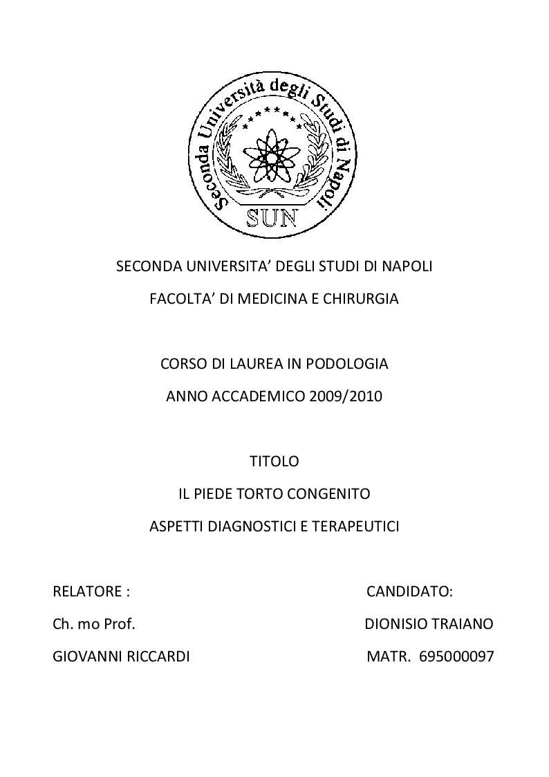 Anteprima della tesi: Il piede torto congenito: aspetti diagnostici e terapeutici, Pagina 1
