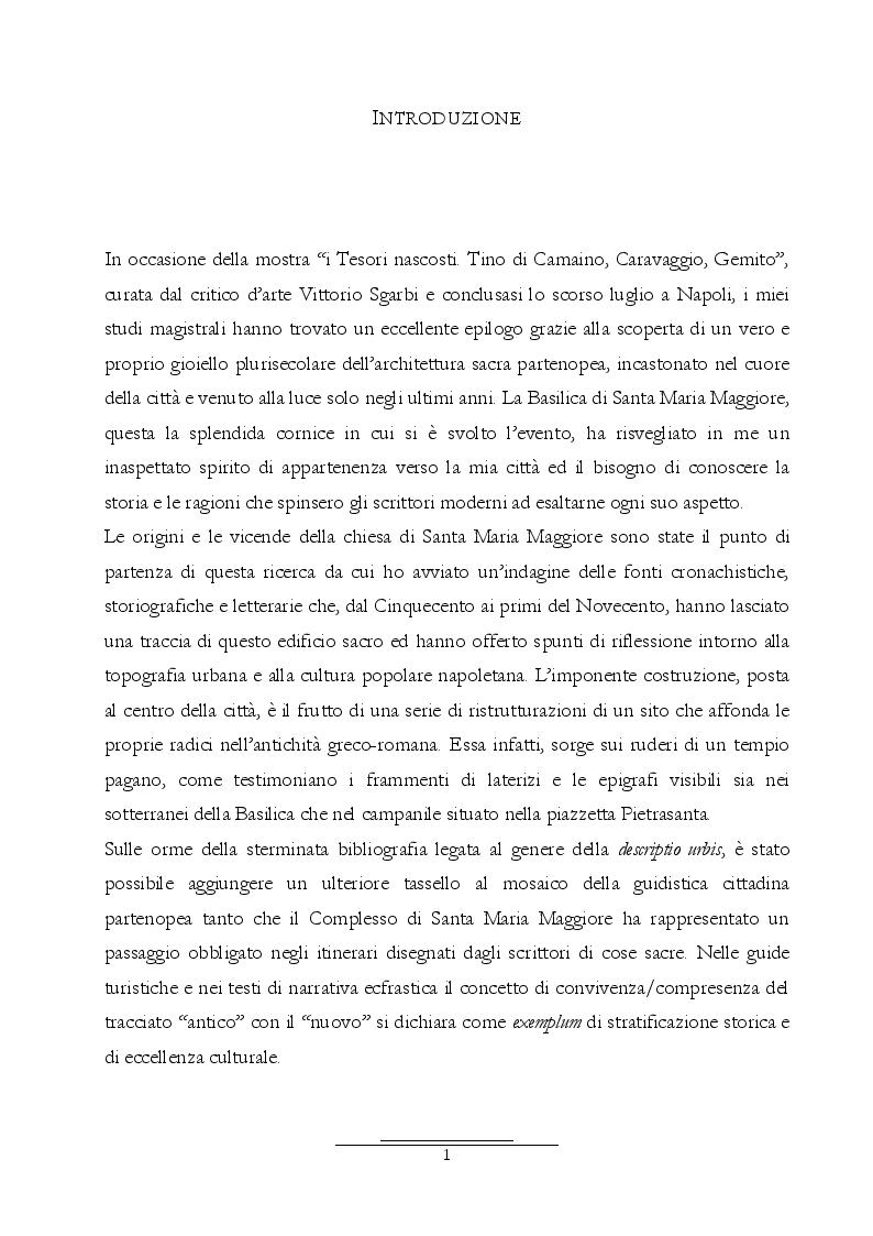 Anteprima della tesi: Dall'Araldo al Capasso. L'ekphrasis della chiesa di Santa Maria Maggiore attraverso le guide di Napoli, Pagina 2