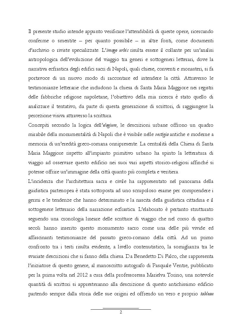 Anteprima della tesi: Dall'Araldo al Capasso. L'ekphrasis della chiesa di Santa Maria Maggiore attraverso le guide di Napoli, Pagina 3