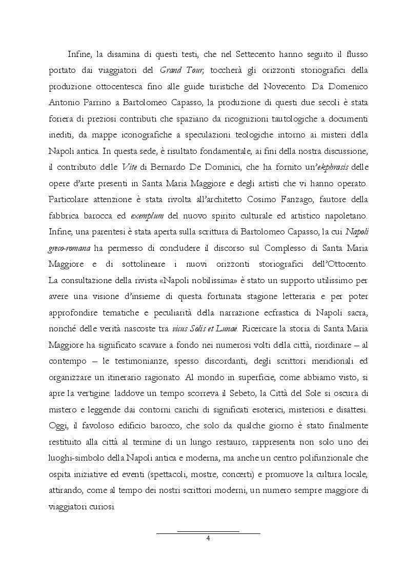 Anteprima della tesi: Dall'Araldo al Capasso. L'ekphrasis della chiesa di Santa Maria Maggiore attraverso le guide di Napoli, Pagina 5