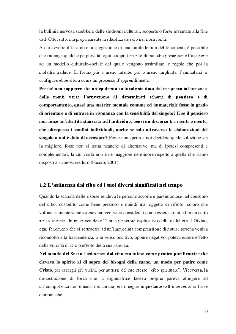 Anteprima della tesi: I disturbi del comportamento alimentare: una visione d'insieme, Pagina 5