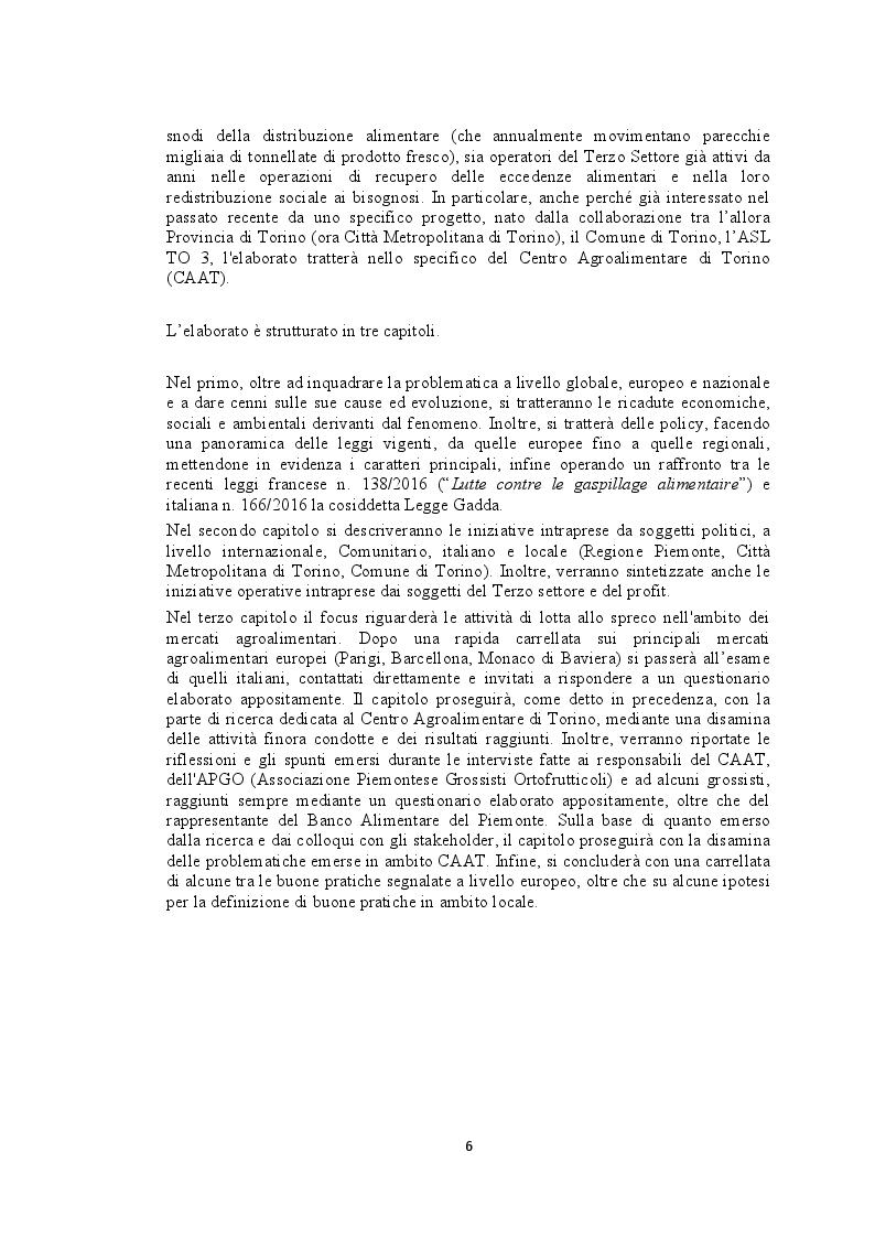 Anteprima della tesi: Recupero e redistribuzione sociale delle derrate alimentari: il caso del Centro Agroalimentare di Torino. Stato dell'arte e proposte di adozione di buone pratiche., Pagina 4