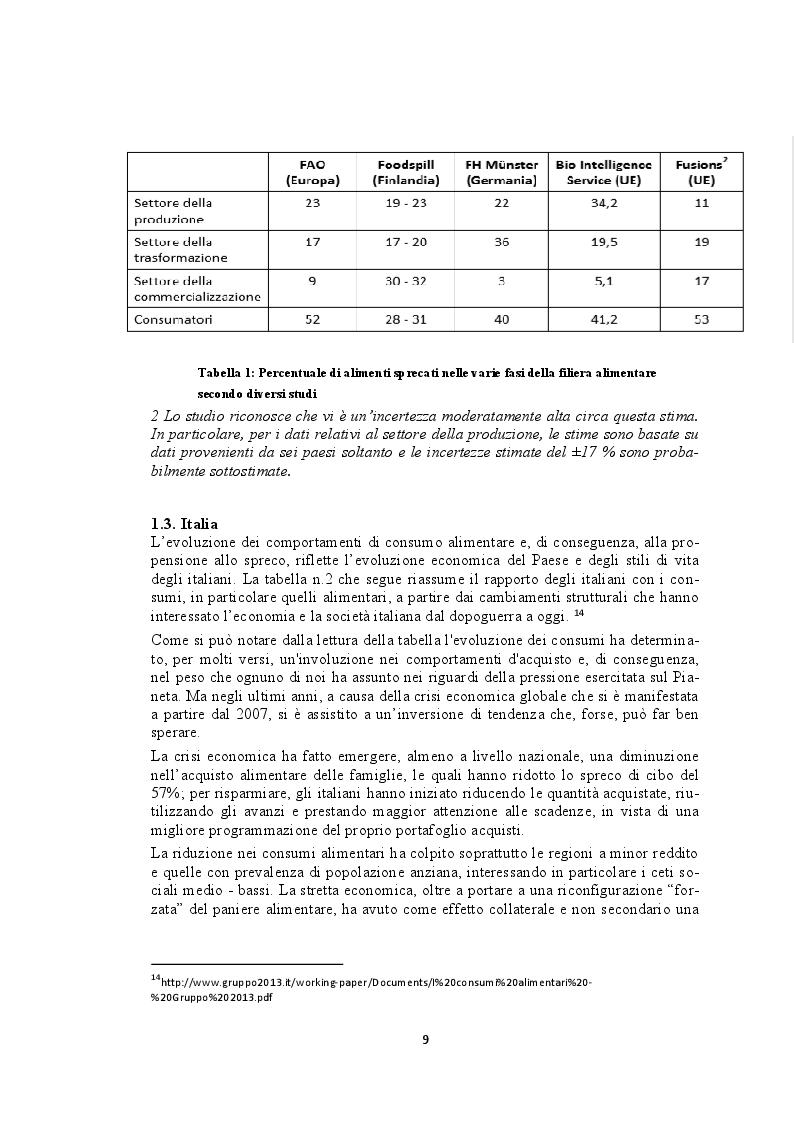 Anteprima della tesi: Recupero e redistribuzione sociale delle derrate alimentari: il caso del Centro Agroalimentare di Torino. Stato dell'arte e proposte di adozione di buone pratiche., Pagina 7