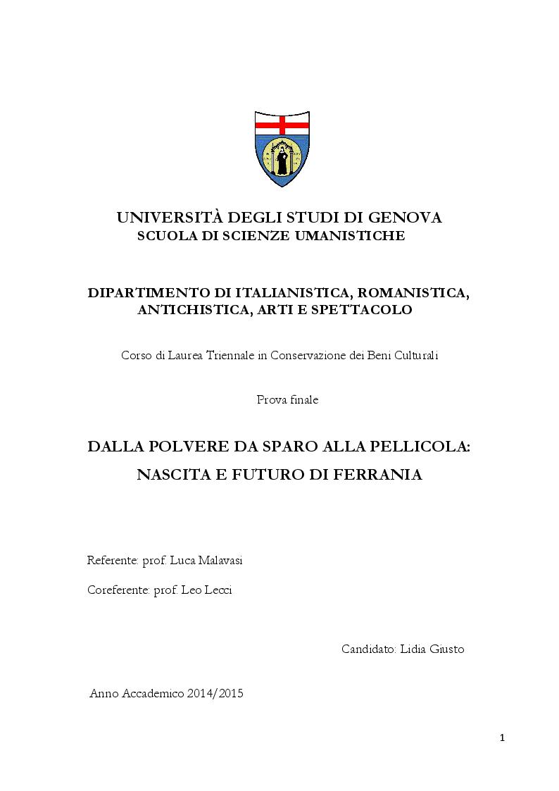 Anteprima della tesi: Dalla polvere da sparo alla pellicola: nascita e futuro di Ferrania, Pagina 1