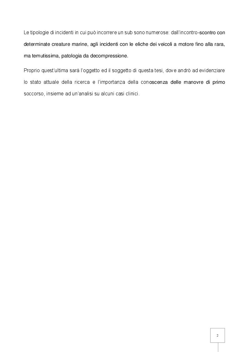 Anteprima della tesi: La Patologia da Decompressione (PDD) nel subacqueo: studio retrospettivo degli incidenti trattati in camera iperbarica, Pagina 3