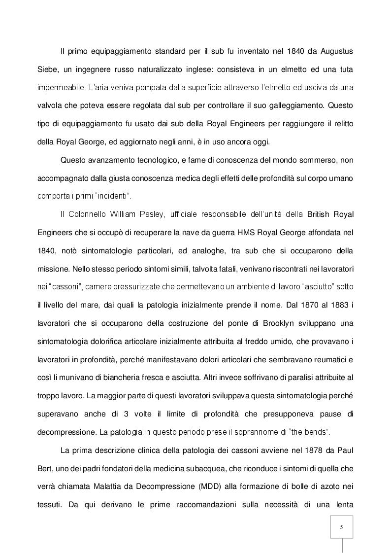 Anteprima della tesi: La Patologia da Decompressione (PDD) nel subacqueo: studio retrospettivo degli incidenti trattati in camera iperbarica, Pagina 6