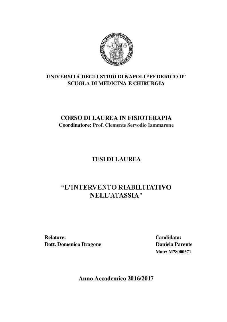 Anteprima della tesi: L'intervento riabilitativo nell'atassia, Pagina 1