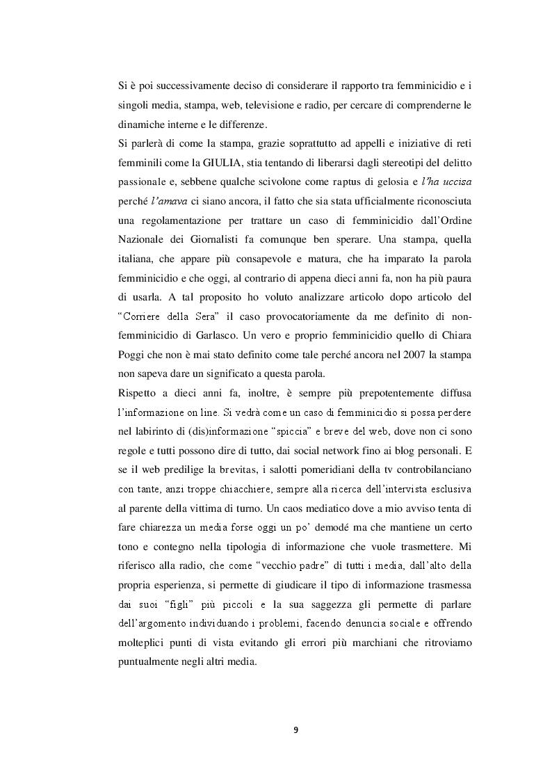 Anteprima della tesi: Il femminicidio in formato notizia, Pagina 5