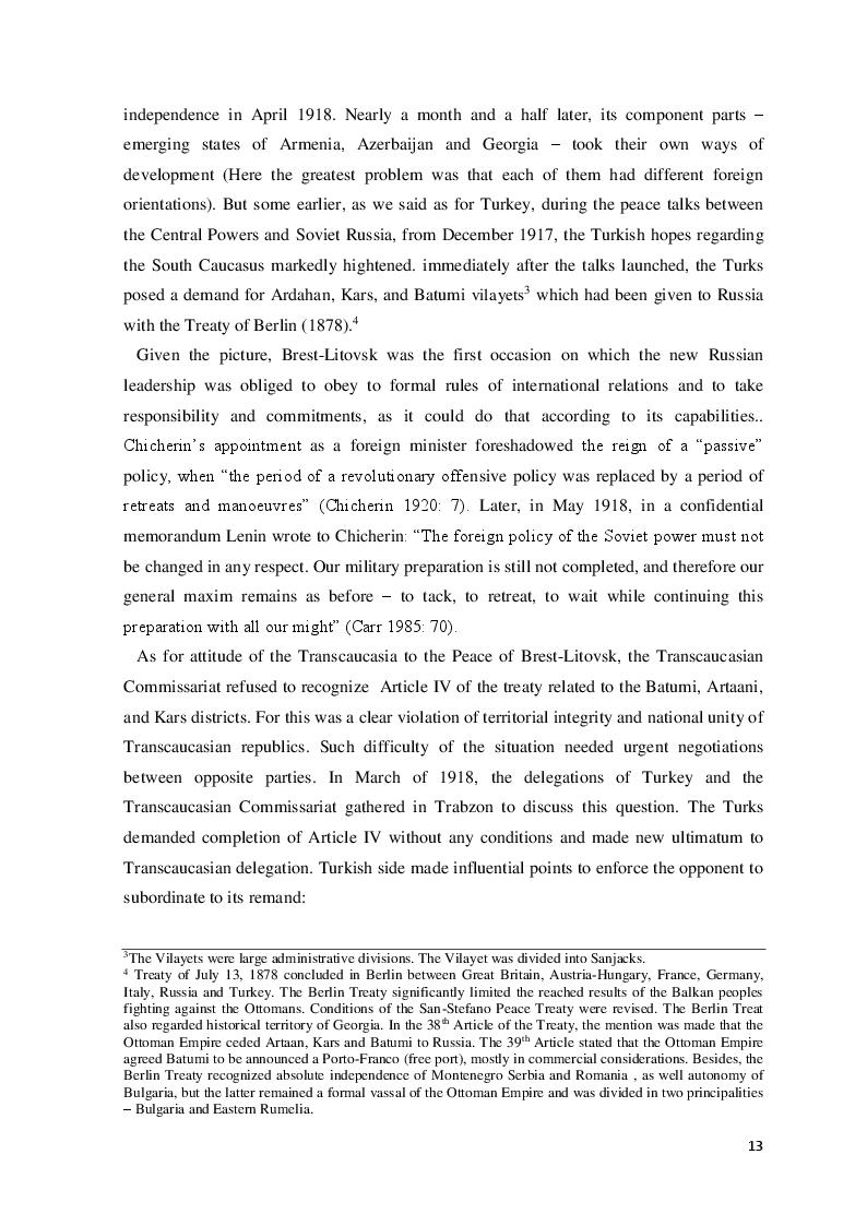 Estratto dalla tesi: The Democratic Republic of Georgia in Diplomatic Relations of the Great Powers 1918-1921