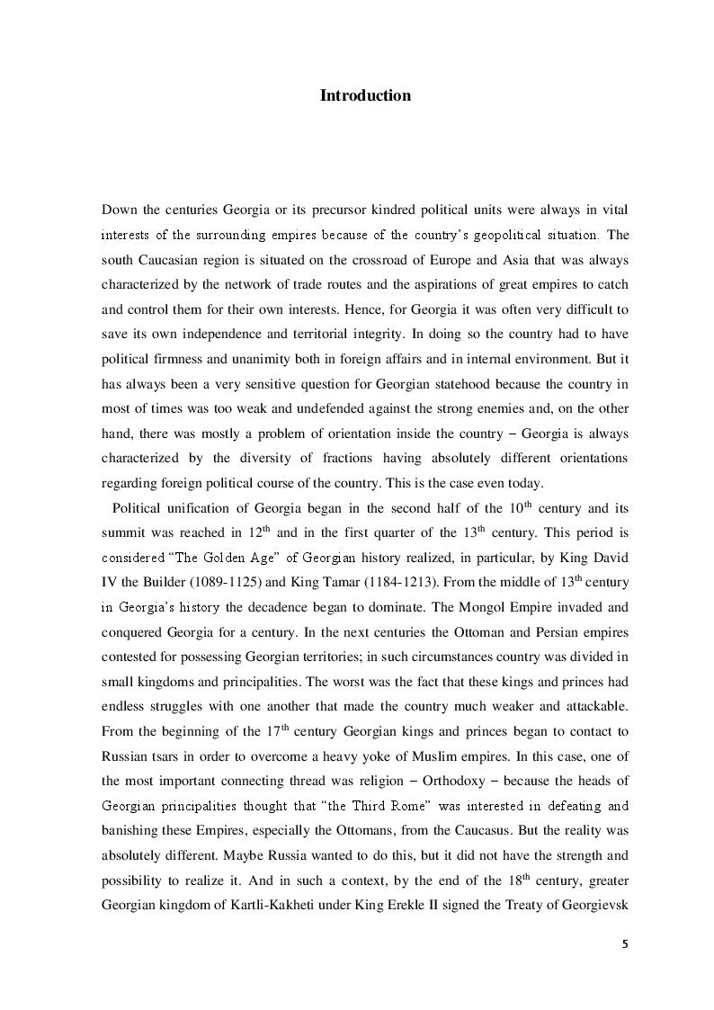 Anteprima della tesi: The Democratic Republic of Georgia in Diplomatic Relations of the Great Powers 1918-1921, Pagina 2