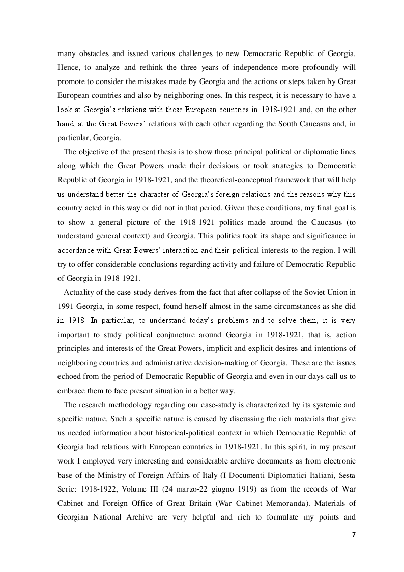 Anteprima della tesi: The Democratic Republic of Georgia in Diplomatic Relations of the Great Powers 1918-1921, Pagina 4