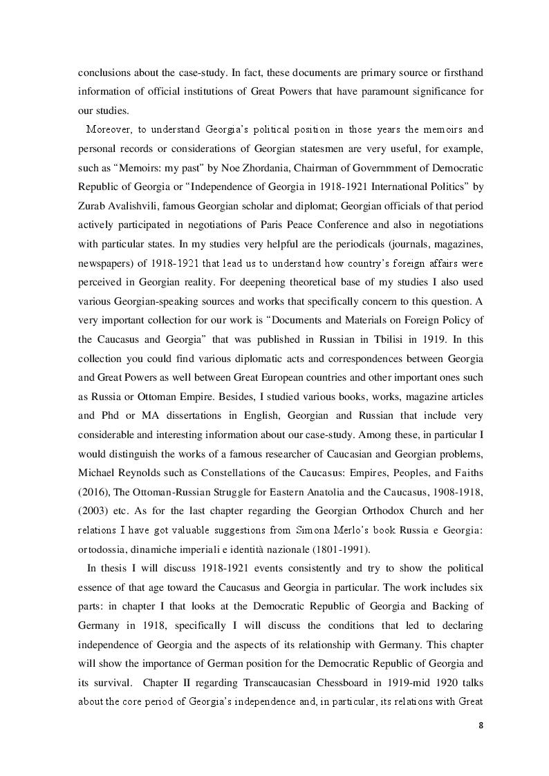Anteprima della tesi: The Democratic Republic of Georgia in Diplomatic Relations of the Great Powers 1918-1921, Pagina 5
