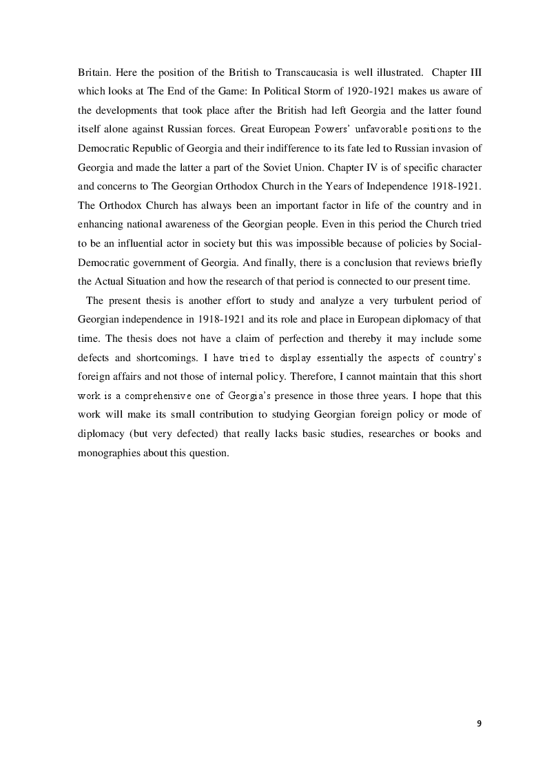 Anteprima della tesi: The Democratic Republic of Georgia in Diplomatic Relations of the Great Powers 1918-1921, Pagina 6
