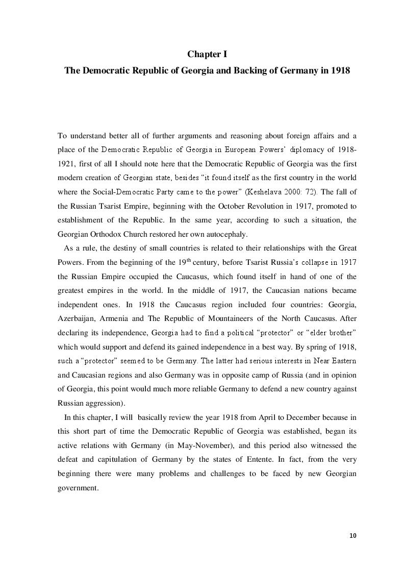 Anteprima della tesi: The Democratic Republic of Georgia in Diplomatic Relations of the Great Powers 1918-1921, Pagina 7