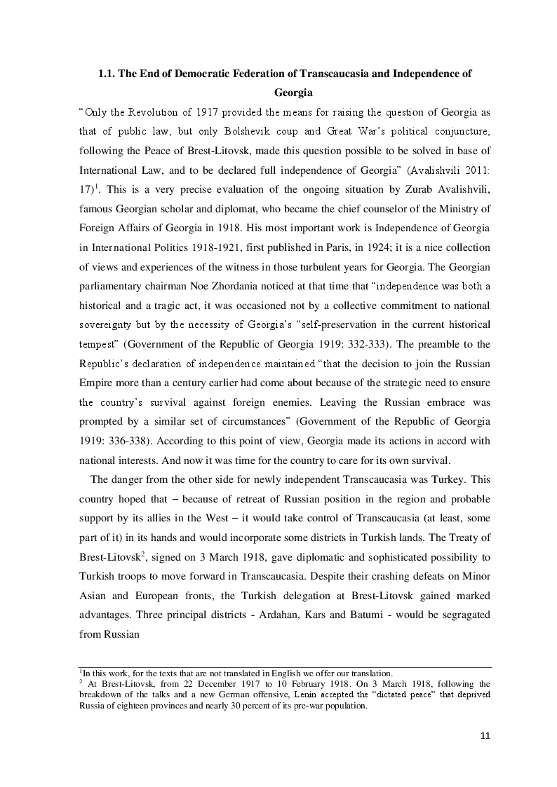 Anteprima della tesi: The Democratic Republic of Georgia in Diplomatic Relations of the Great Powers 1918-1921, Pagina 8