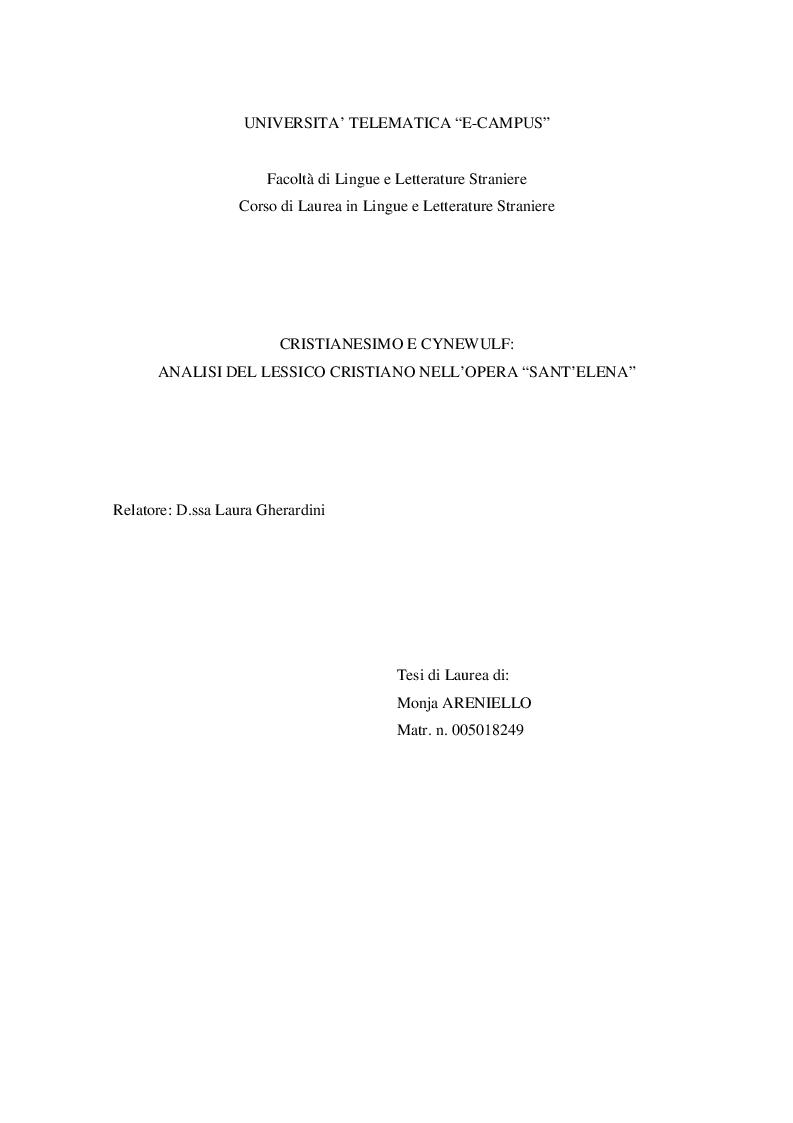 """Anteprima della tesi: Cristianesimo e Cynewulf: analisi del lessico cristiano nell'opera """"Sant'Elena"""", Pagina 1"""
