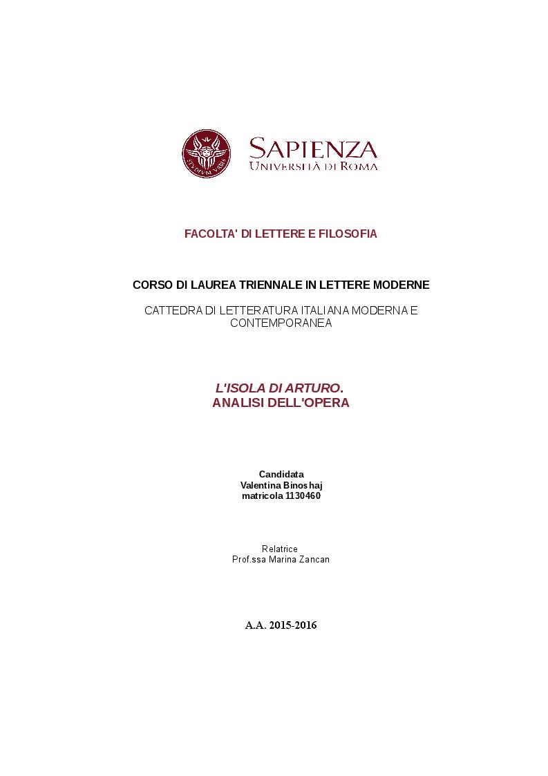 """Anteprima della tesi: Analisi dell'opera :   """"L'isola di  Arturo"""", Pagina 1"""
