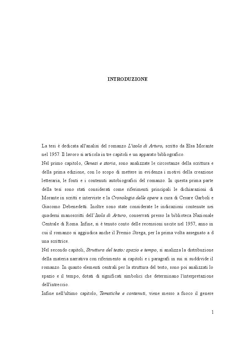 """Anteprima della tesi: Analisi dell'opera :   """"L'isola di  Arturo"""", Pagina 2"""