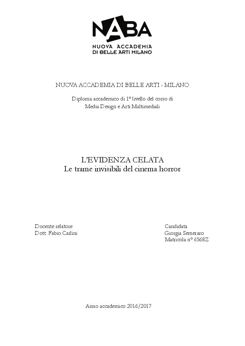 Anteprima della tesi: L'evidenza celata: le trame invisibili del cinema horror, Pagina 1
