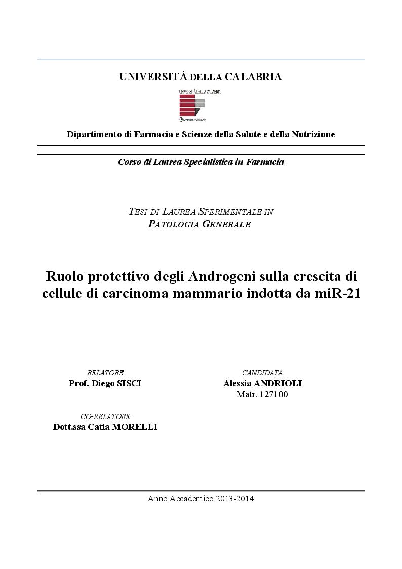 Anteprima della tesi: Ruolo protettivo degli Androgeni sulla crescita di cellule di carcinoma mammario indotta da miR-21, Pagina 1