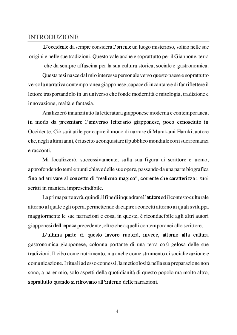 Anteprima della tesi: L'uomo è ciò che mangia. Studio del cibo nella narrazione di Haruki Murakami, Pagina 2