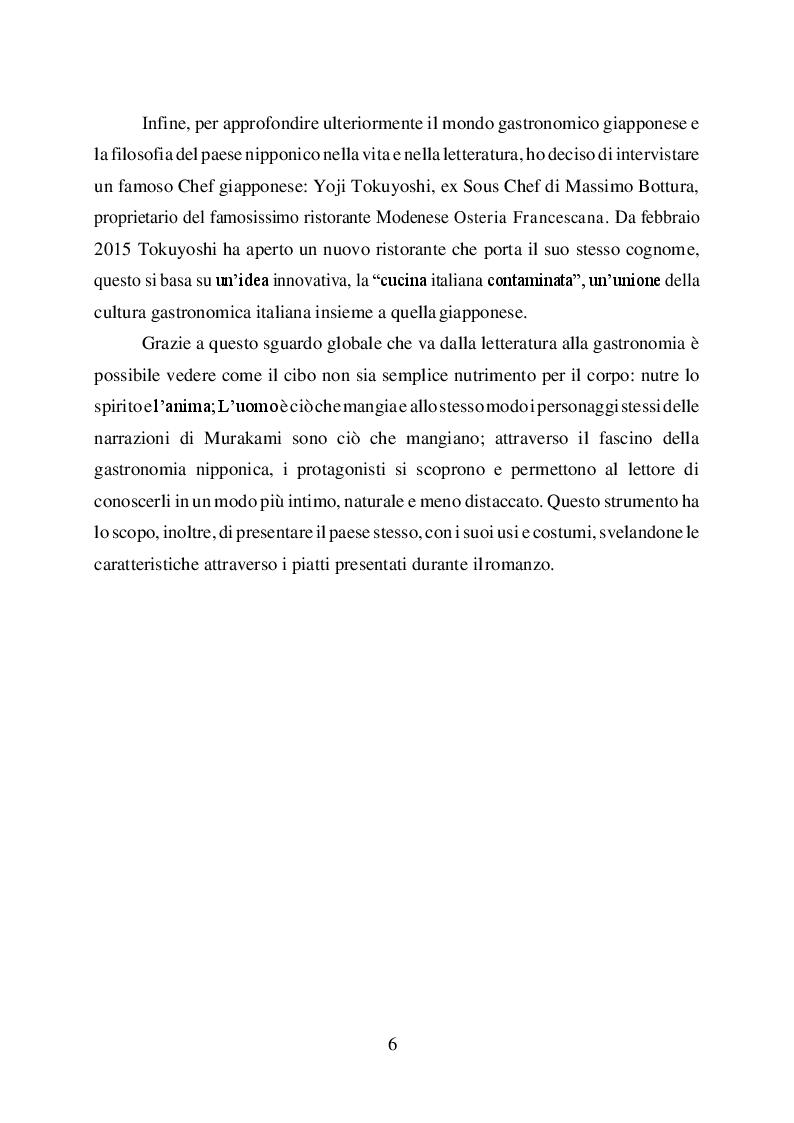 Anteprima della tesi: L'uomo è ciò che mangia. Studio del cibo nella narrazione di Haruki Murakami, Pagina 4